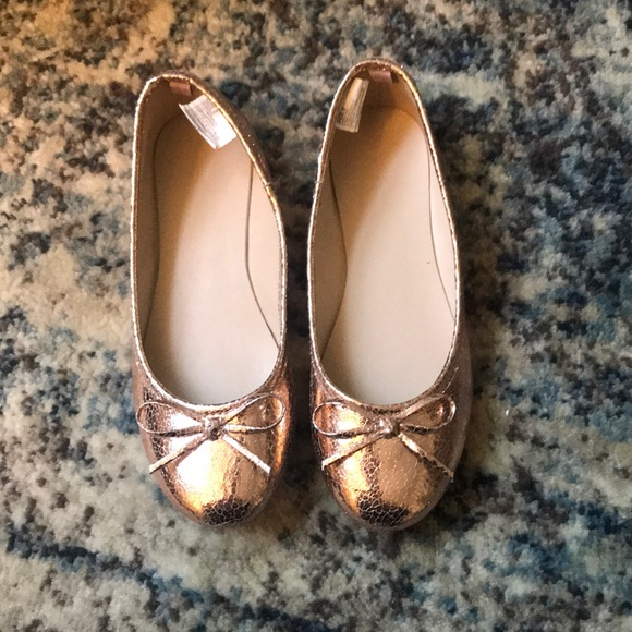 NWT Gymboree Gold Flats With Bows 11,12,13,1,2,3,4 Girls